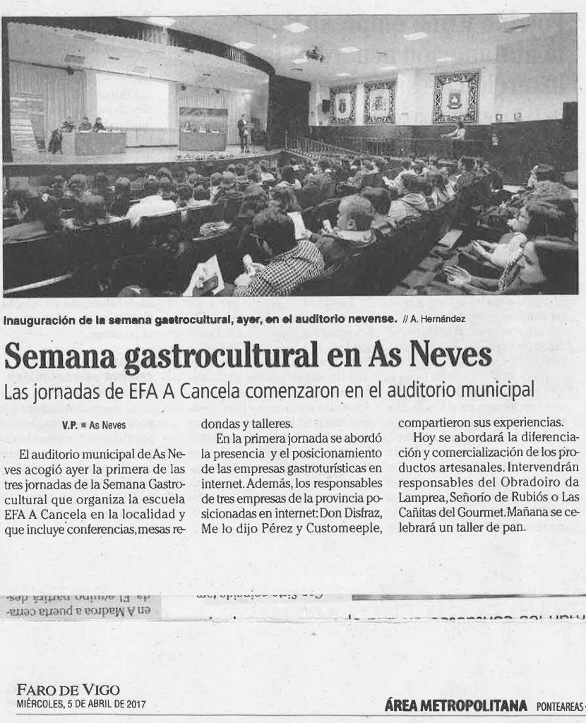 FARO DE VIGO SEMANA GASTROCULTURAL